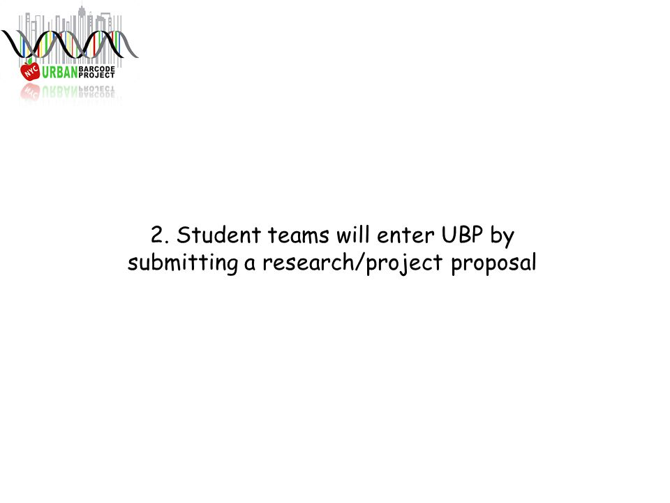 2. Student teams will enter UBP by submitting a research/project proposal