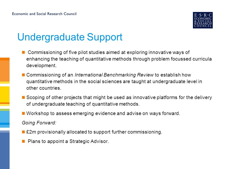 Undergraduate Support Commissioning of five pilot studies aimed at exploring innovative ways of enhancing the teaching of quantitative methods through