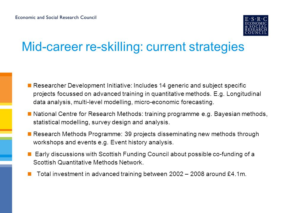Mid-career re-skilling: current strategies Researcher Development Initiative: Includes 14 generic and subject specific projects focussed on advanced t