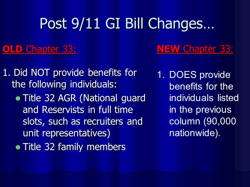 Post 9/11 GI Bill Changes… OLD Chapter 33: 1.
