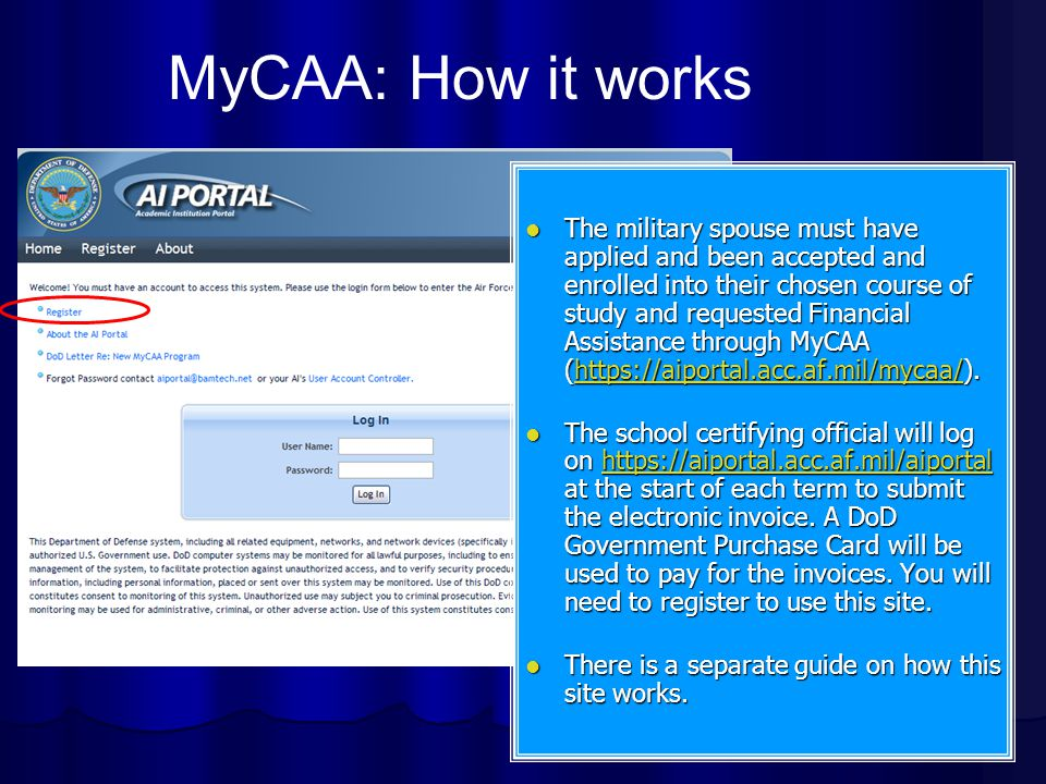 The military spouse must have applied and been accepted and enrolled into their chosen course of study and requested Financial Assistance through MyCAA (https://aiportal.acc.af.mil/mycaa/).