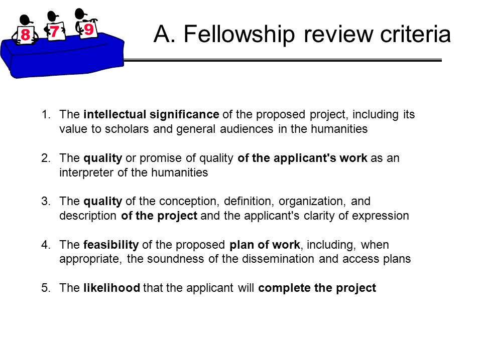 A. Fellowship review criteria 1.The intellectual significance of the proposed project, including its value to scholars and general audiences in the hu