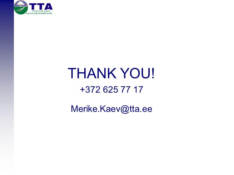 THANK YOU! +372 625 77 17 Merike.Kaev@tta.ee