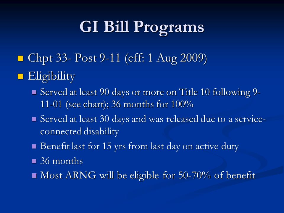 GI Bill Programs Chpt 33- Post 9-11 (eff: 1 Aug 2009) Chpt 33- Post 9-11 (eff: 1 Aug 2009) Eligibility Eligibility Served at least 90 days or more on