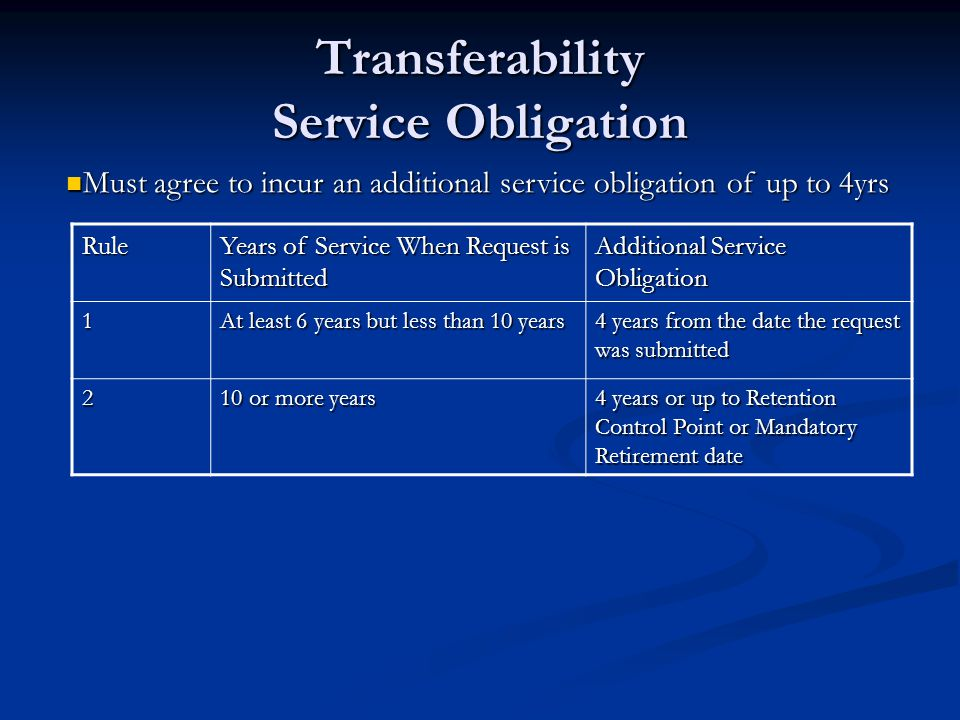 Transferability Service Obligation Rule Years of Service When Request is Submitted Additional Service Obligation 1 At least 6 years but less than 10 y