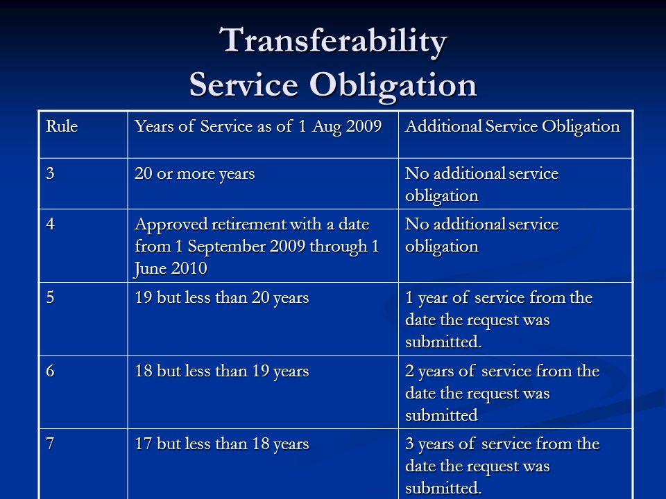 Transferability Service Obligation Rule Years of Service as of 1 Aug 2009 Additional Service Obligation 3 20 or more years No additional service oblig