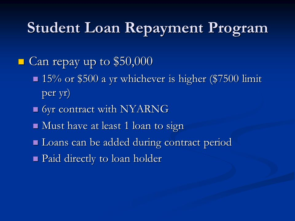 Can repay up to $50,000 Can repay up to $50,000 15% or $500 a yr whichever is higher ($7500 limit per yr) 15% or $500 a yr whichever is higher ($7500