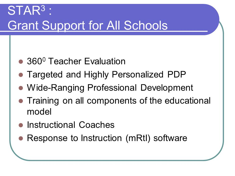 STAR 3 : Your Part 360 0 Teacher Evaluation Process Targeted teacher/principal development based on the new NCTEP/NCPEP Standards Understanding EVAAS Training in Learning Focused, Single School Culture, and mRtI Continuous Improvement of Instruction
