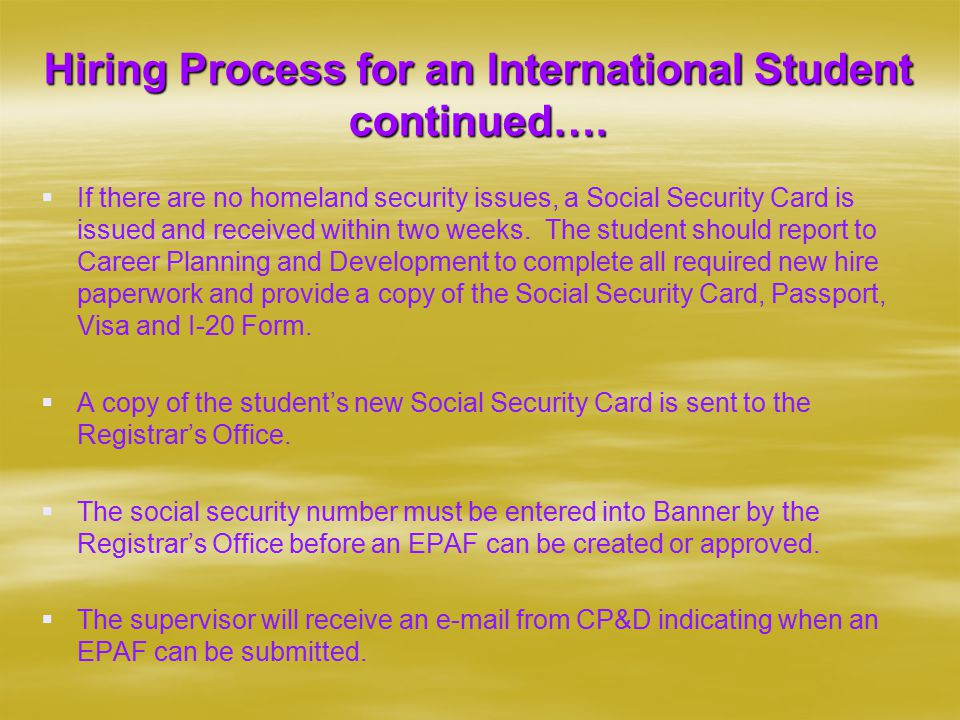 Hiring Process for an International Student continued….