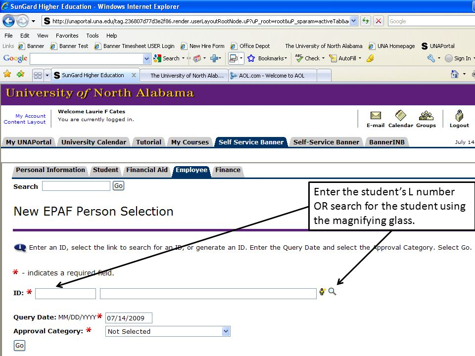 Enter the student's L number OR search for the student using the magnifying glass.