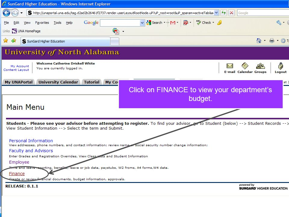 Click on FINANCE to view your department's budget.