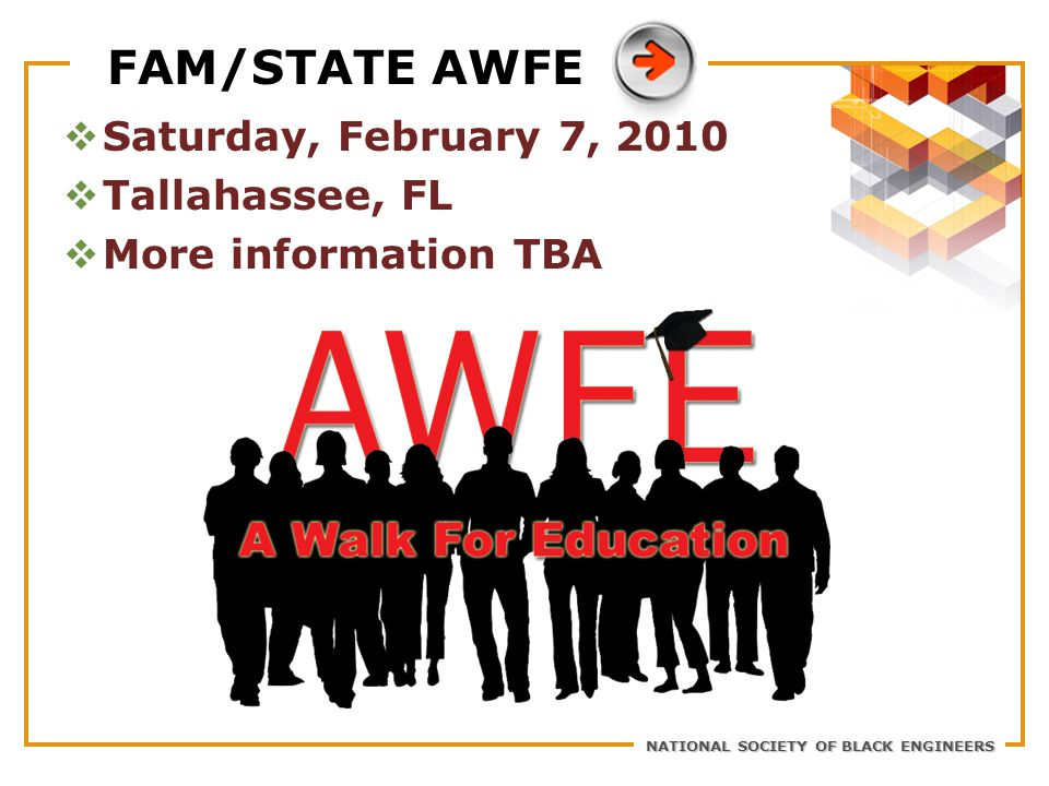 NATIONAL SOCIETY OF BLACK ENGINEERS FAM/STATE AWFE  Saturday, February 7, 2010  Tallahassee, FL  More information TBA