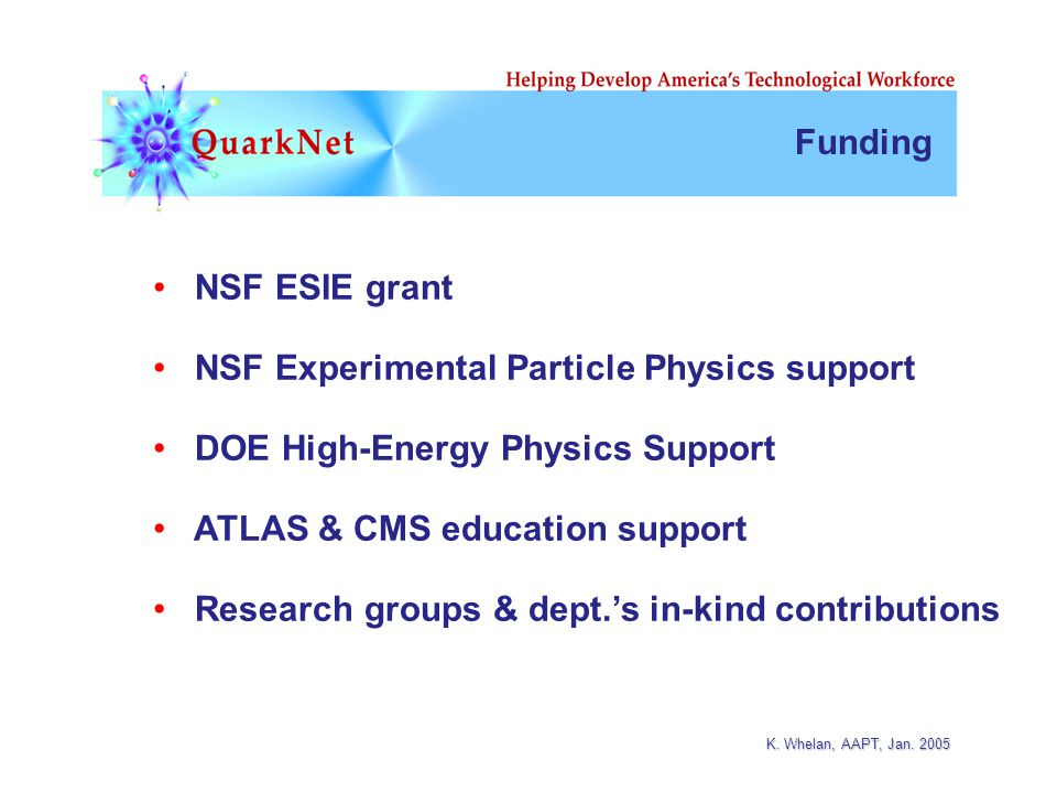 K. Whelan, AAPT, Jan. 2005 NSF ESIE grant NSF Experimental Particle Physics support DOE High-Energy Physics Support ATLAS & CMS education support Rese