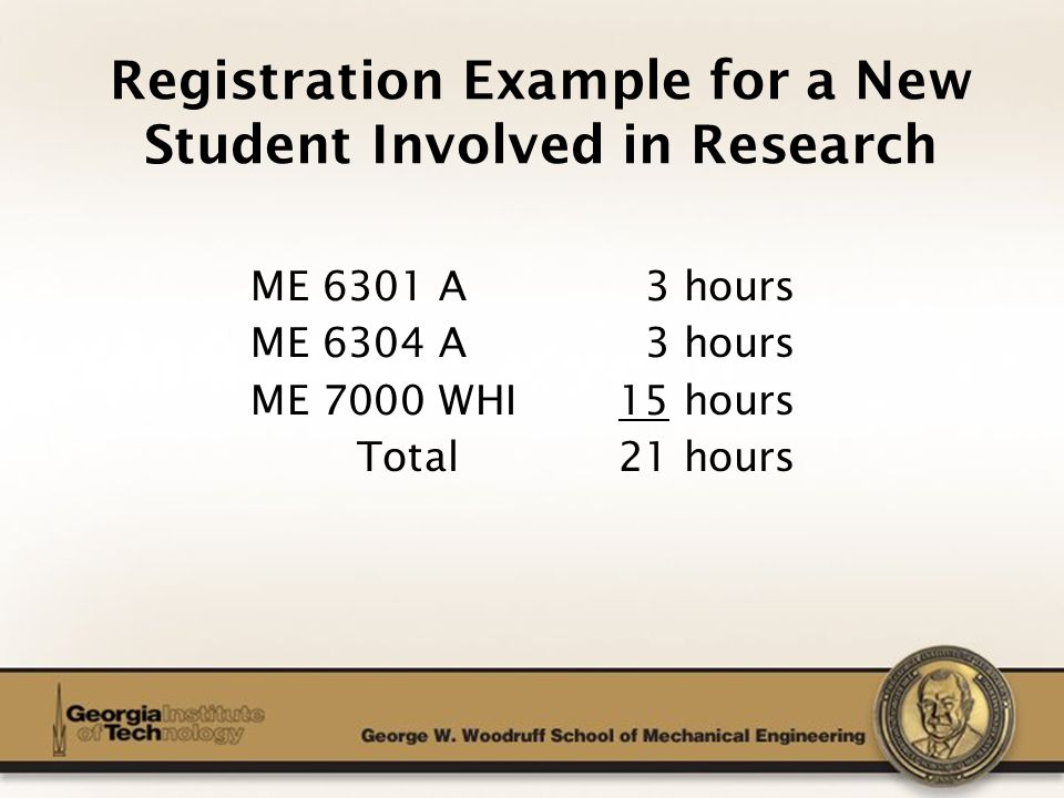 The George W. Woodruff School of Mechanical Engineering Registration Example for a New Student Involved in Research ME 6301 A 3 hours ME 6304 A 3 hour