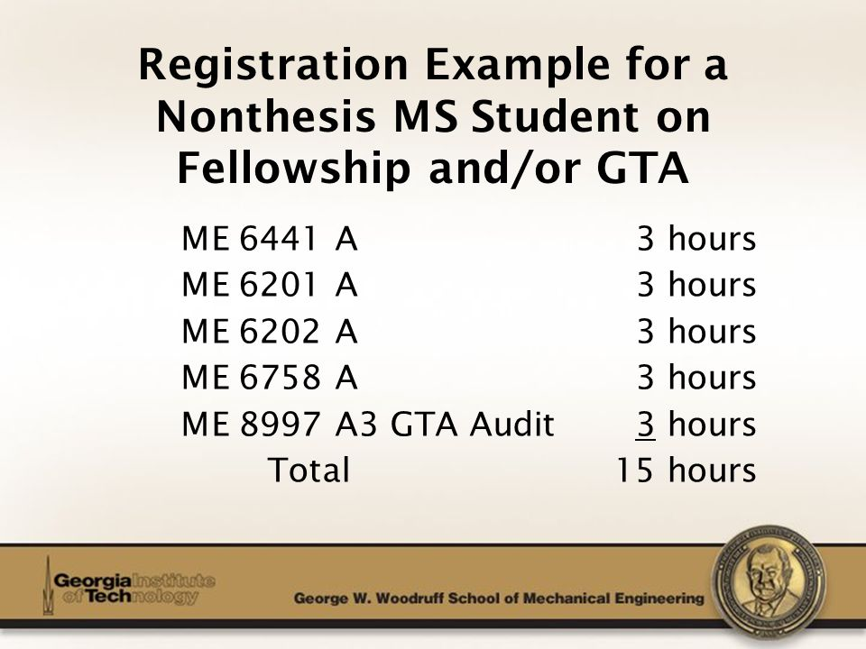 The George W. Woodruff School of Mechanical Engineering Registration Example for a Nonthesis MS Student on Fellowship and/or GTA ME 6441 A 3 hours ME