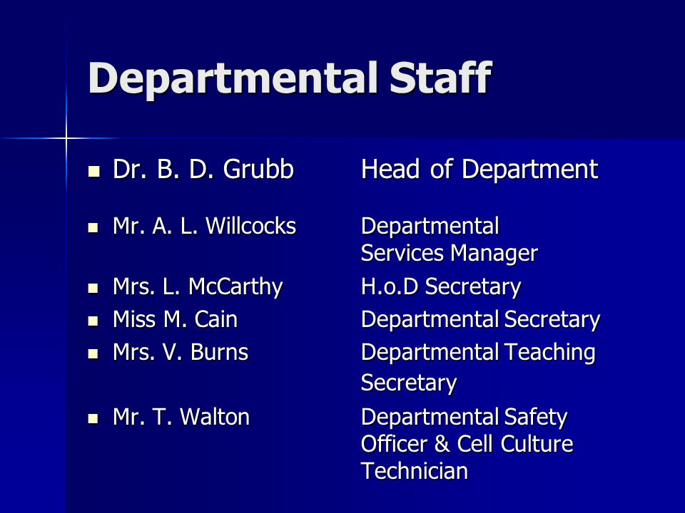Departmental Staff Dr. B. D. Grubb Head of Department Dr.
