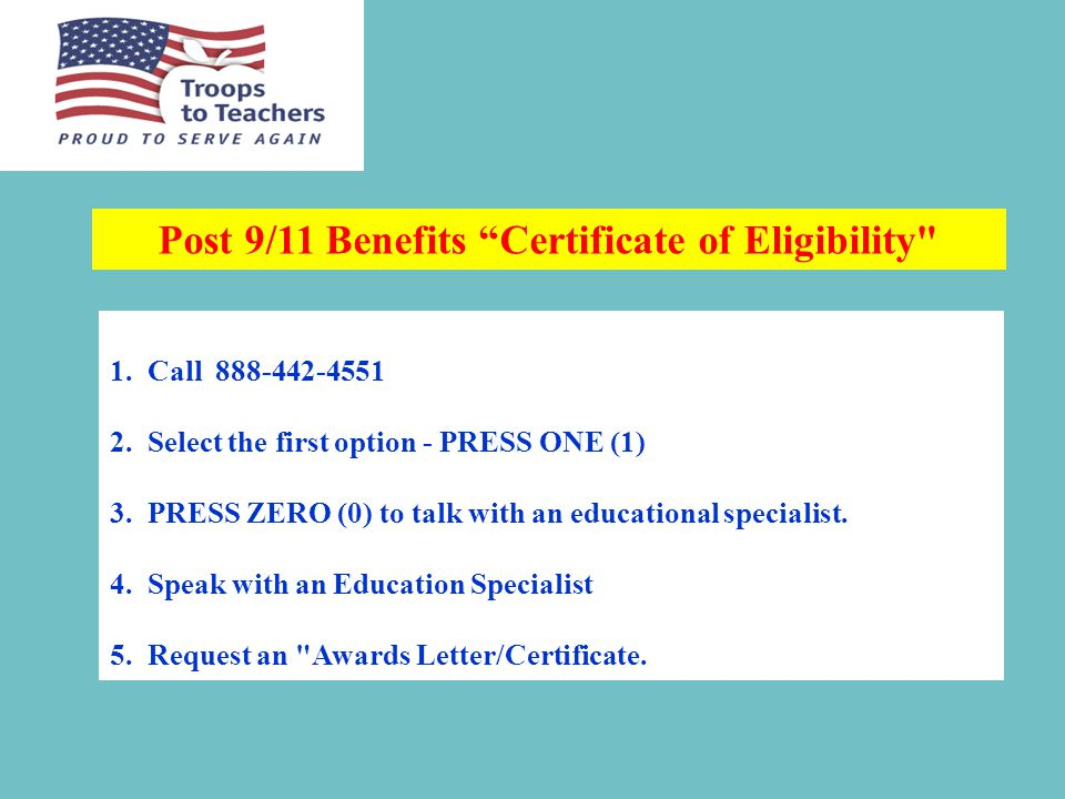 TTT Stipend Individuals must have exhausted Post 9/11 VA Benefits to be eligible for TTT Stipend.