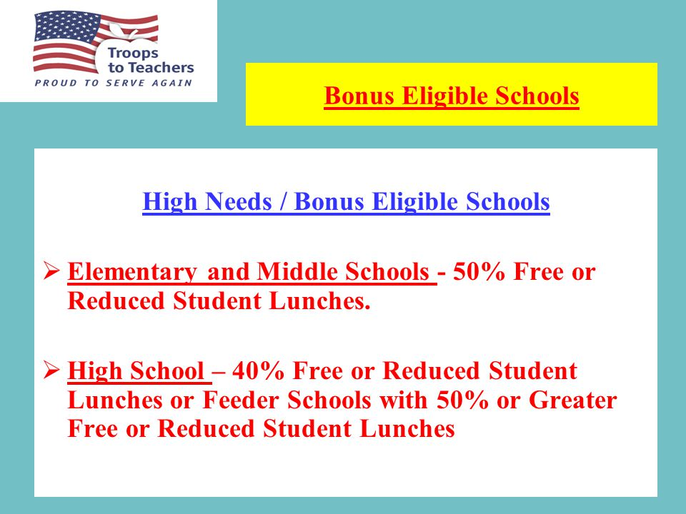 Three Year Teaching Commitment Stipend Eligible Schools a.30% Free or Reduced Cost Student Lunches b.13% Special Education Students