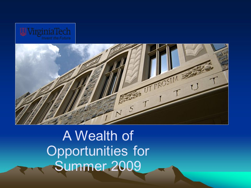 A Wealth of Opportunities for Summer 2009