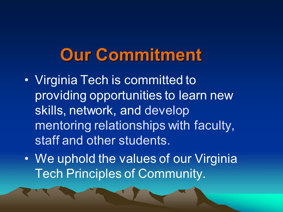 Our Commitment Virginia Tech is committed to providing opportunities to learn new skills, network, and develop mentoring relationships with faculty, staff and other students.