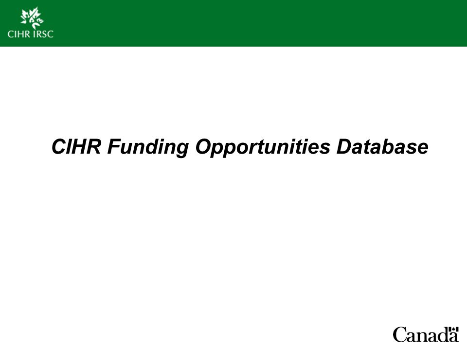CIHR Funding Opportunities Database