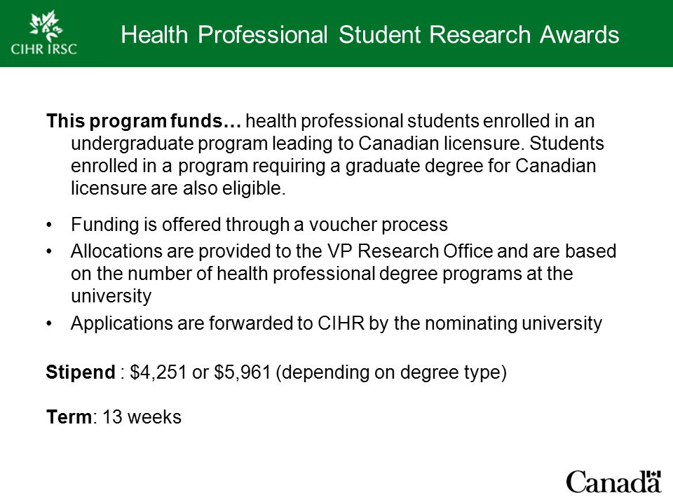 Health Professional Student Research Awards This program funds… health professional students enrolled in an undergraduate program leading to Canadian licensure.