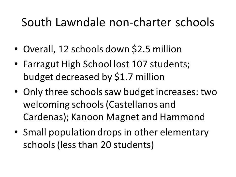 South Lawndale non-charter schools Overall, 12 schools down $2.5 million Farragut High School lost 107 students; budget decreased by $1.7 million Only three schools saw budget increases: two welcoming schools (Castellanos and Cardenas); Kanoon Magnet and Hammond Small population drops in other elementary schools (less than 20 students)