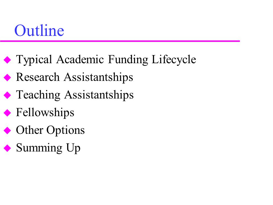 Outline  Typical Academic Funding Lifecycle  Research Assistantships  Teaching Assistantships  Fellowships  Other Options  Summing Up