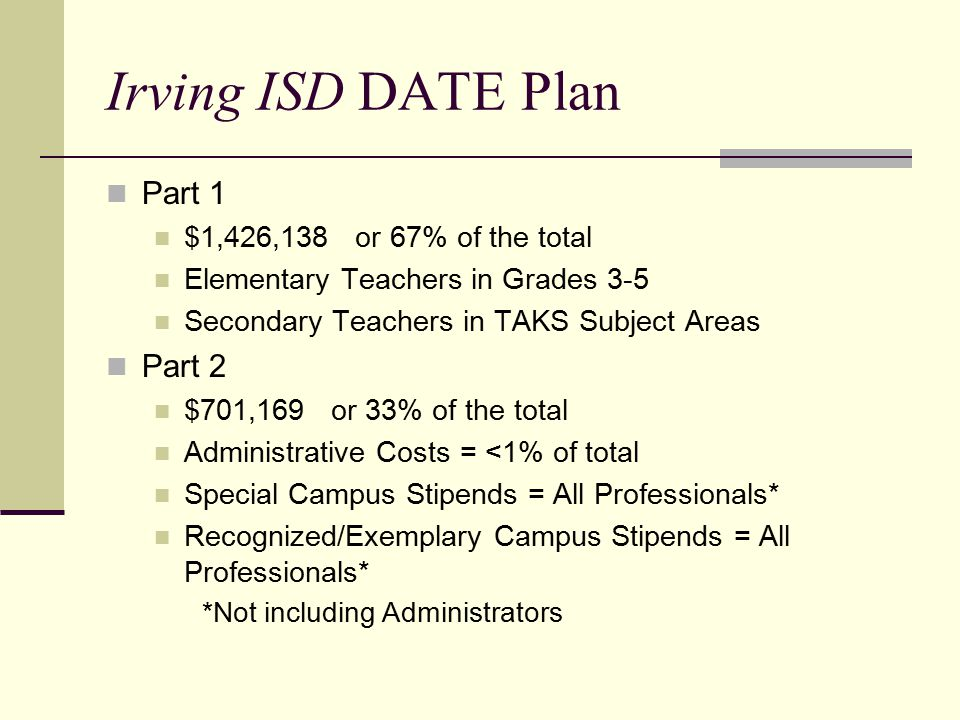 Irving ISD DATE Plan Part 1 $1,426,138 or 67% of the total Elementary Teachers in Grades 3-5 Secondary Teachers in TAKS Subject Areas Part 2 $701,169