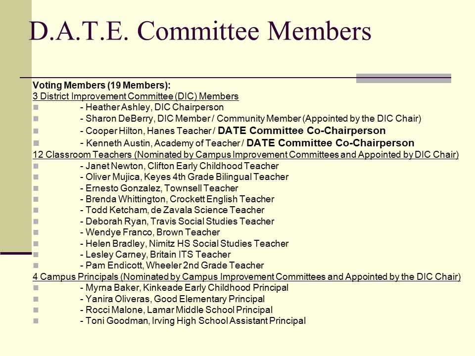 D.A.T.E. Committee Members Voting Members (19 Members): 3 District Improvement Committee (DIC) Members - Heather Ashley, DIC Chairperson - Sharon DeBe