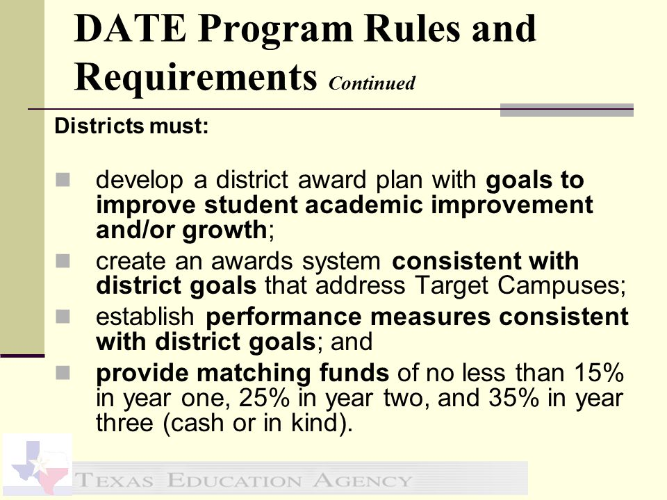 Irving ISD DATE Plan Part 1 $1,426,138 or 67% of the total Elementary Teachers in Grades 3-5 Secondary Teachers in TAKS Subject Areas Part 2 $701,169 or 33% of the total Administrative Costs = <1% of total Special Campus Stipends = All Professionals* Recognized/Exemplary Campus Stipends = All Professionals* *Not including Administrators