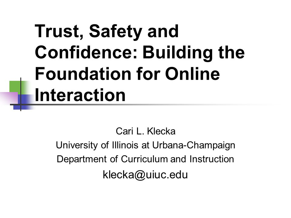Trust, Safety and Confidence: Building the Foundation for Online Interaction Cari L.
