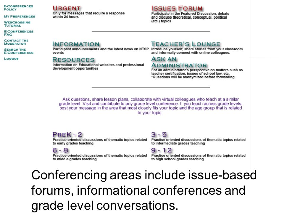 Conferencing areas include issue-based forums, informational conferences and grade level conversations.