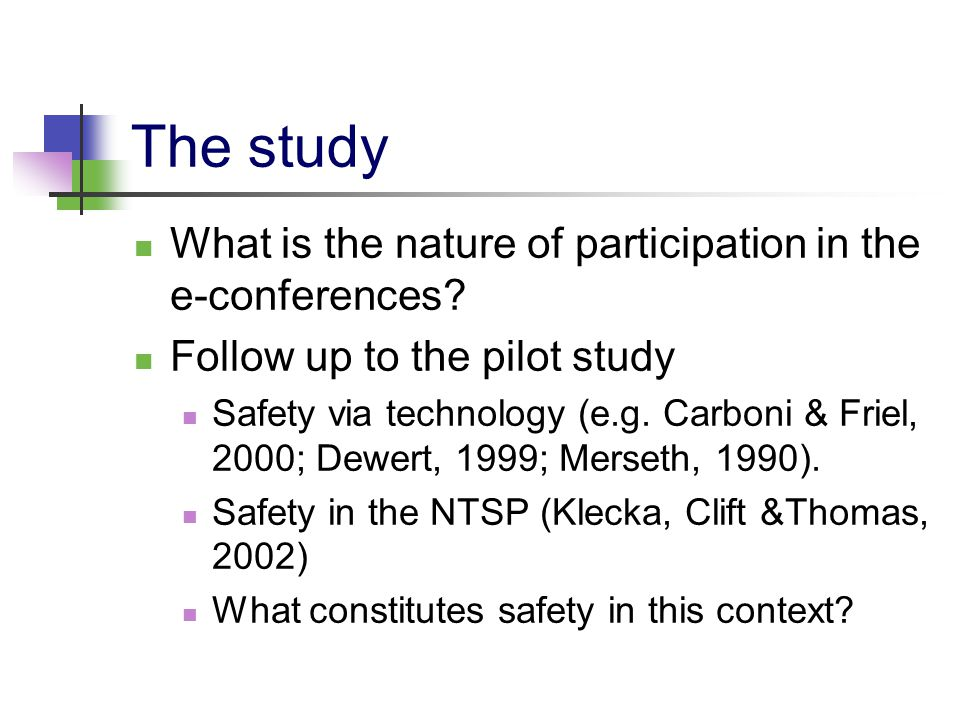 The study What is the nature of participation in the e-conferences? Follow up to the pilot study Safety via technology (e.g. Carboni & Friel, 2000; De