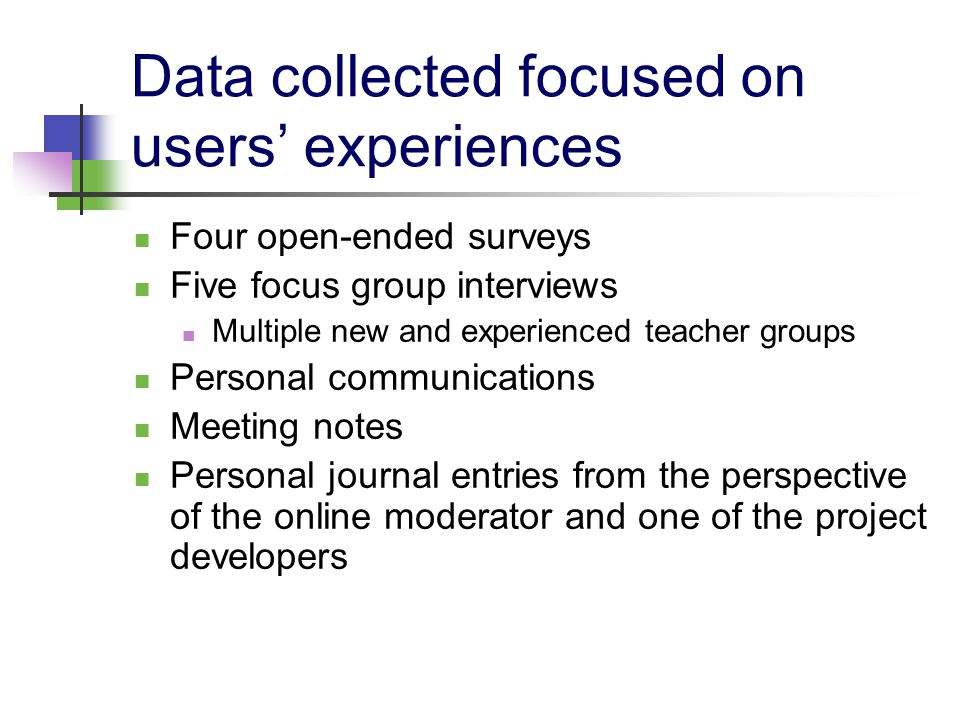 Data collected focused on users' experiences Four open-ended surveys Five focus group interviews Multiple new and experienced teacher groups Personal communications Meeting notes Personal journal entries from the perspective of the online moderator and one of the project developers