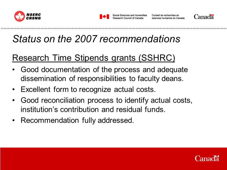 Research Time Stipends grants (SSHRC) Good documentation of the process and adequate dissemination of responsibilities to faculty deans.