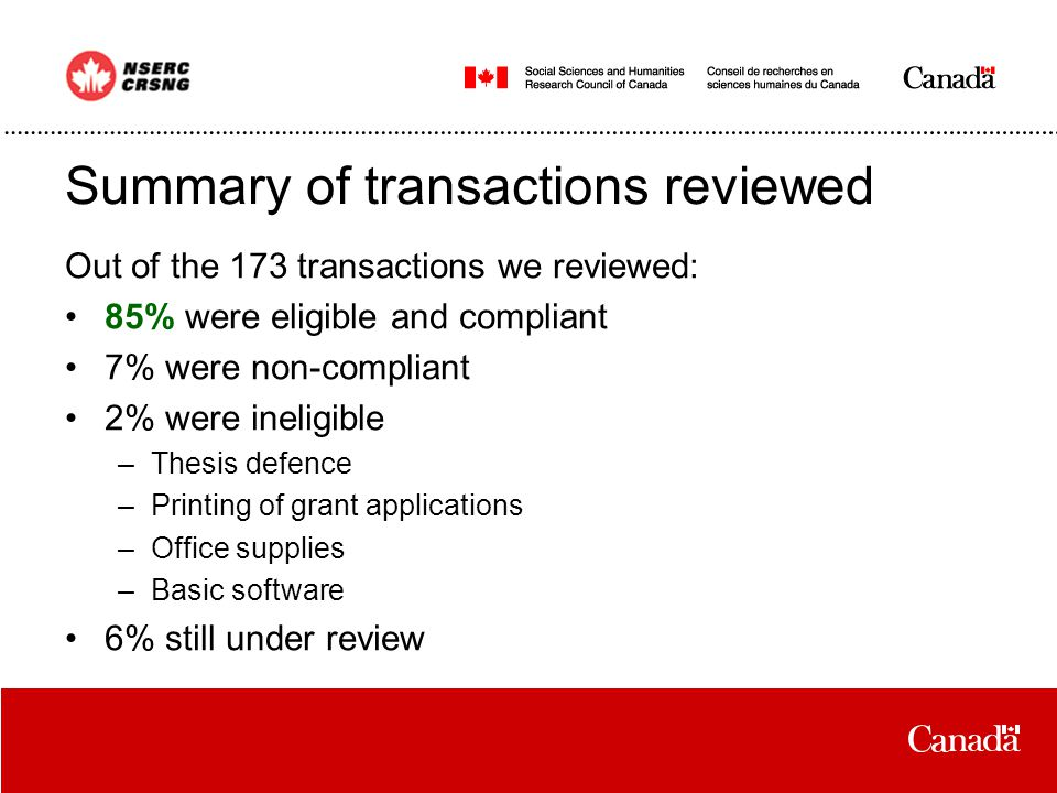 Summary of transactions reviewed Out of the 173 transactions we reviewed: 85% were eligible and compliant 7% were non-compliant 2% were ineligible –Thesis defence –Printing of grant applications –Office supplies –Basic software 6% still under review