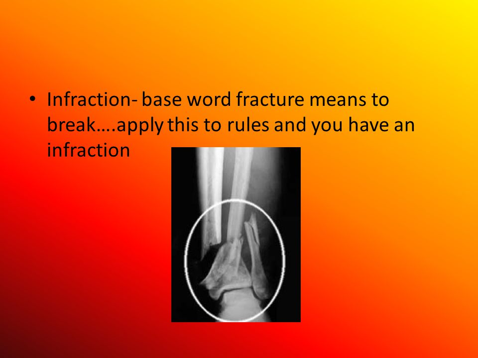 Infraction- base word fracture means to break….apply this to rules and you have an infraction