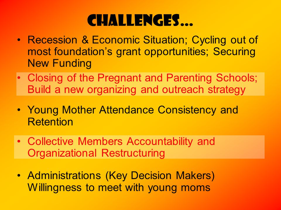 CHALLENGES… Recession & Economic Situation; Cycling out of most foundation's grant opportunities; Securing New Funding Closing of the Pregnant and Parenting Schools; Build a new organizing and outreach strategy Young Mother Attendance Consistency and Retention Collective Members Accountability and Organizational Restructuring Administrations (Key Decision Makers) Willingness to meet with young moms