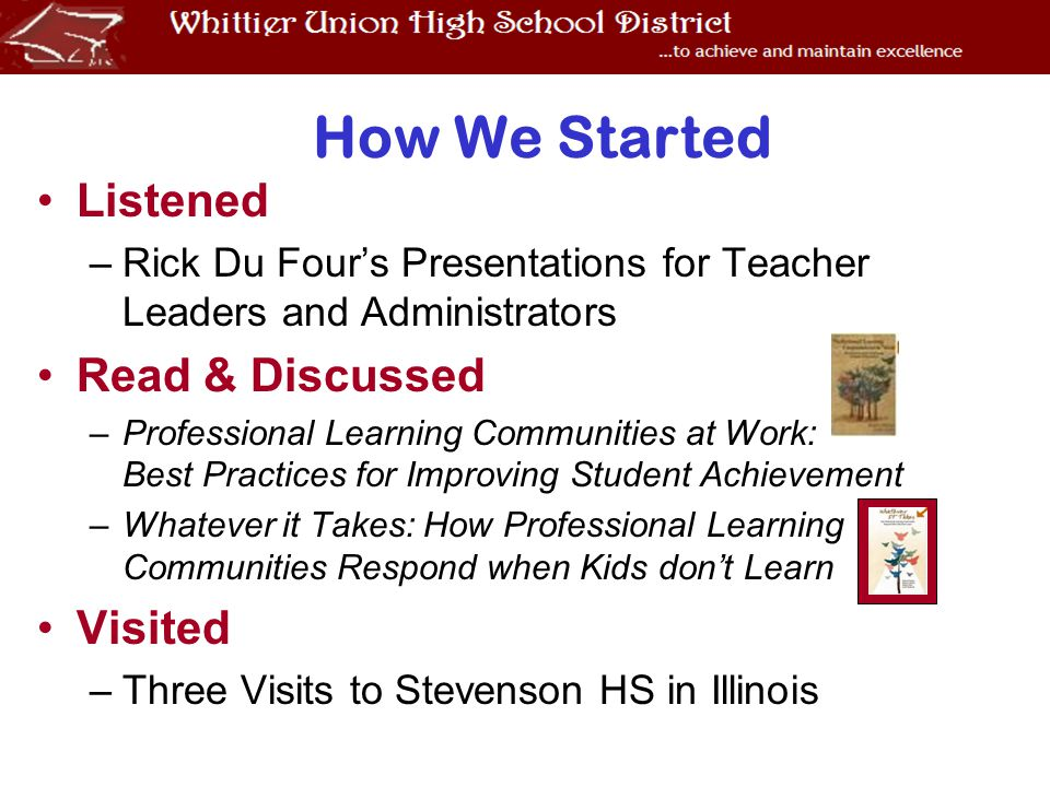 Listened –Rick Du Four's Presentations for Teacher Leaders and Administrators Read & Discussed –Professional Learning Communities at Work: Best Practices for Improving Student Achievement –Whatever it Takes: How Professional Learning Communities Respond when Kids don't Learn Visited –Three Visits to Stevenson HS in Illinois How We Started