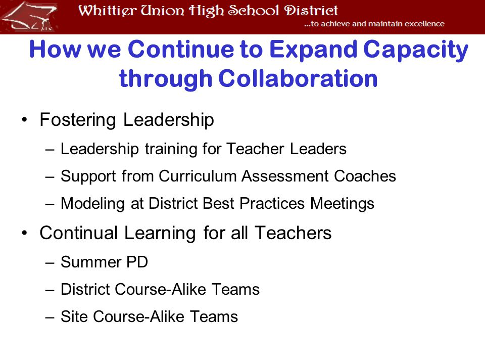 How we Continue to Expand Capacity through Collaboration Fostering Leadership –Leadership training for Teacher Leaders –Support from Curriculum Assessment Coaches –Modeling at District Best Practices Meetings Continual Learning for all Teachers –Summer PD –District Course-Alike Teams –Site Course-Alike Teams