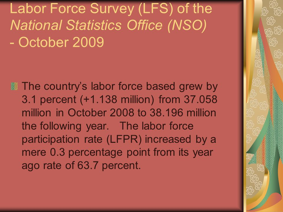 Labor Force Survey (LFS) of the National Statistics Office (NSO) - October 2009 The country's labor force based grew by 3.1 percent (+1.138 million) from 37.058 million in October 2008 to 38.196 million the following year.
