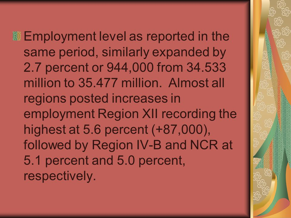 Employment level as reported in the same period, similarly expanded by 2.7 percent or 944,000 from 34.533 million to 35.477 million.