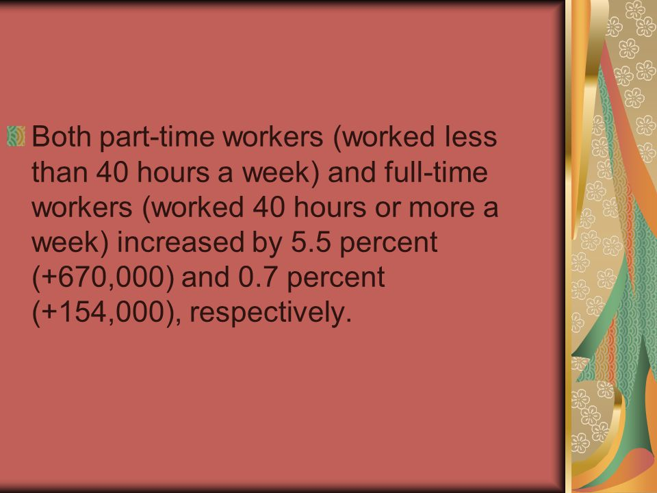 Both part-time workers (worked less than 40 hours a week) and full-time workers (worked 40 hours or more a week) increased by 5.5 percent (+670,000) and 0.7 percent (+154,000), respectively.