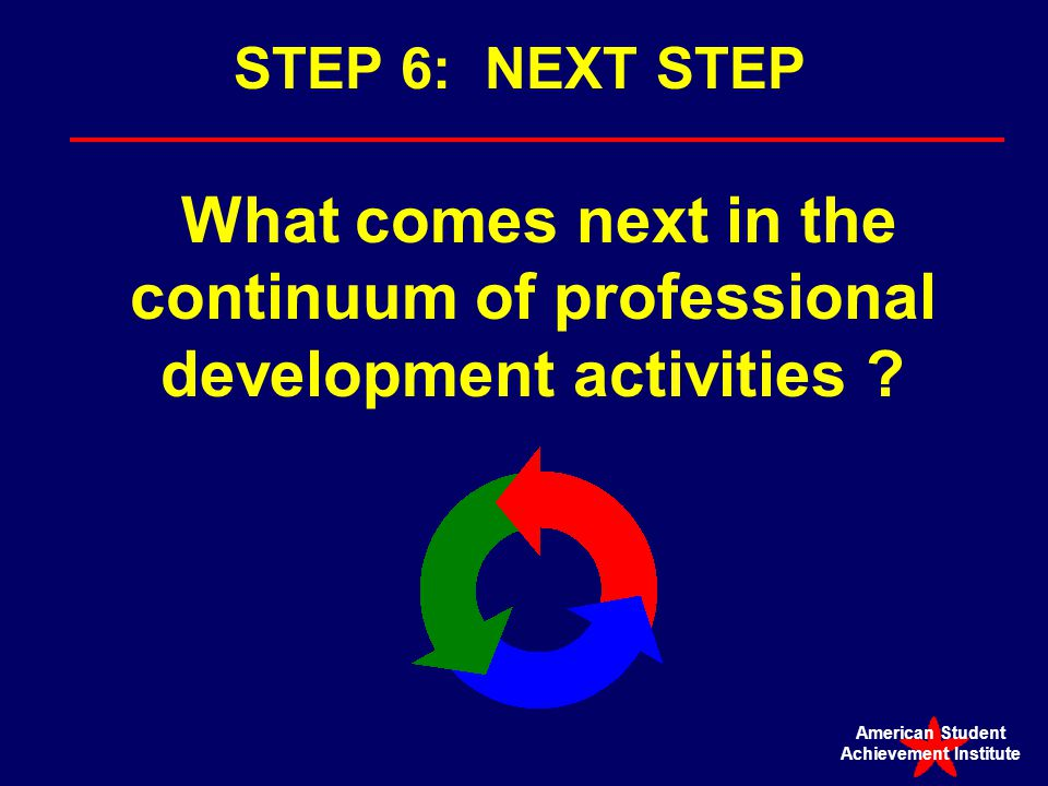 STEP 6: NEXT STEP What comes next in the continuum of professional development activities .