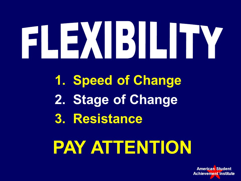 1.Speed of Change 2.Stage of Change 3.Resistance PAY ATTENTION American Student Achievement Institute