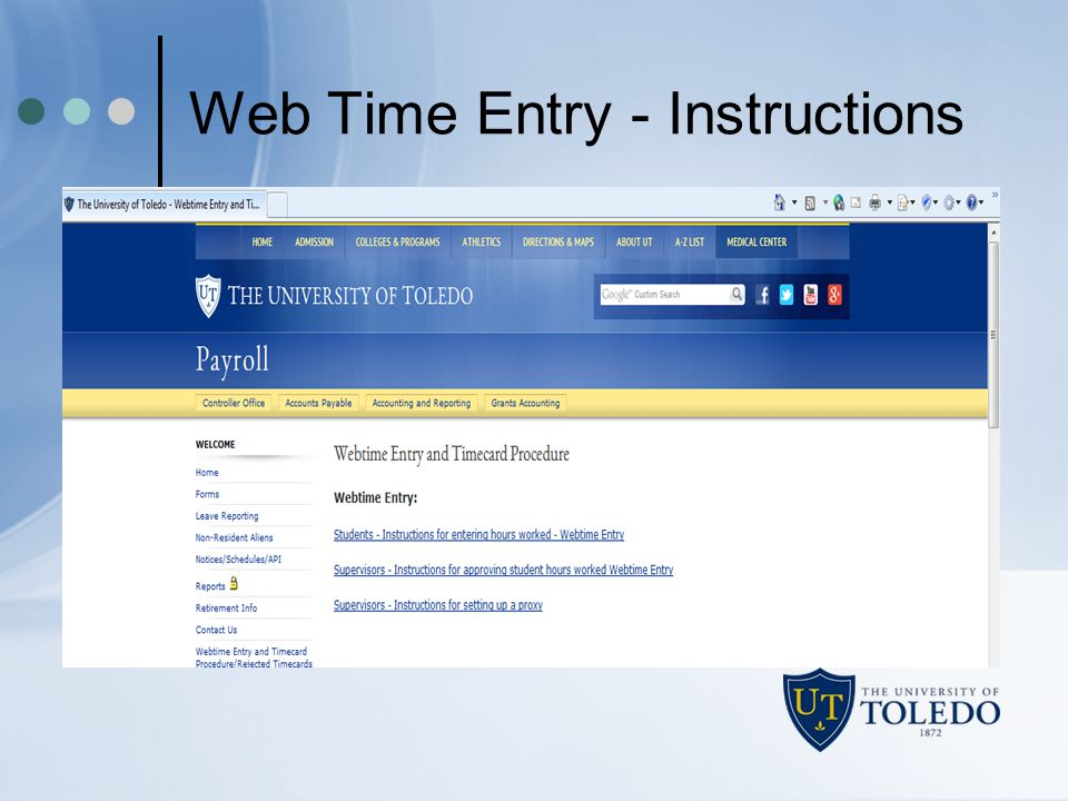 Web Time Entry - Instructions