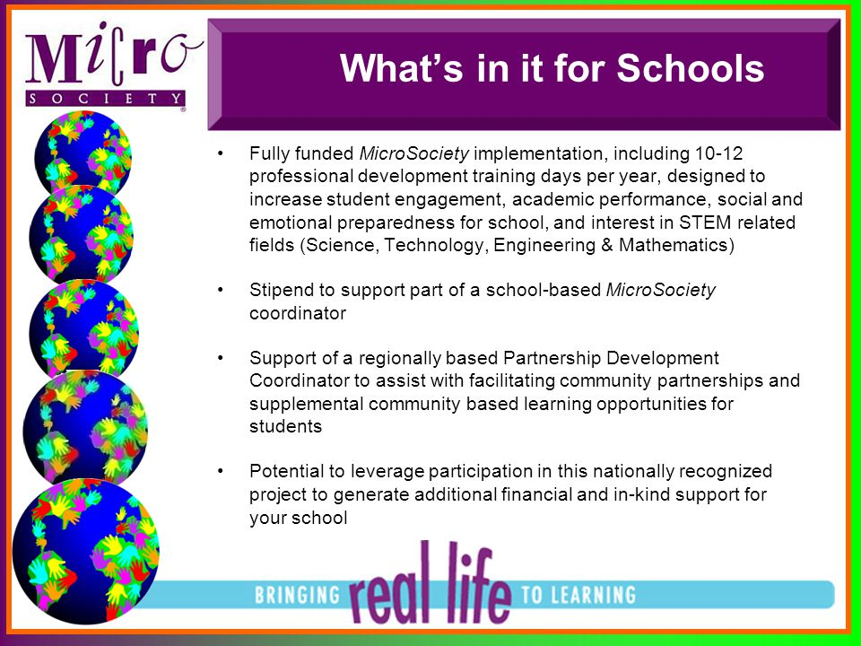 What's in it for Schools Fully funded MicroSociety implementation, including 10-12 professional development training days per year, designed to increa