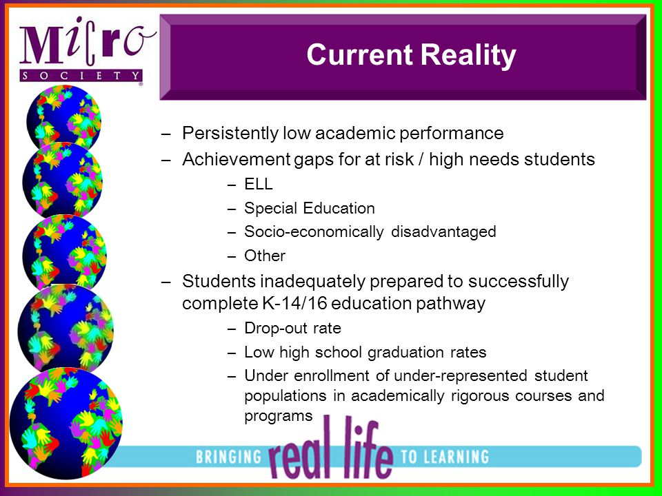 Current Reality –Persistently low academic performance –Achievement gaps for at risk / high needs students –ELL –Special Education –Socio-economically