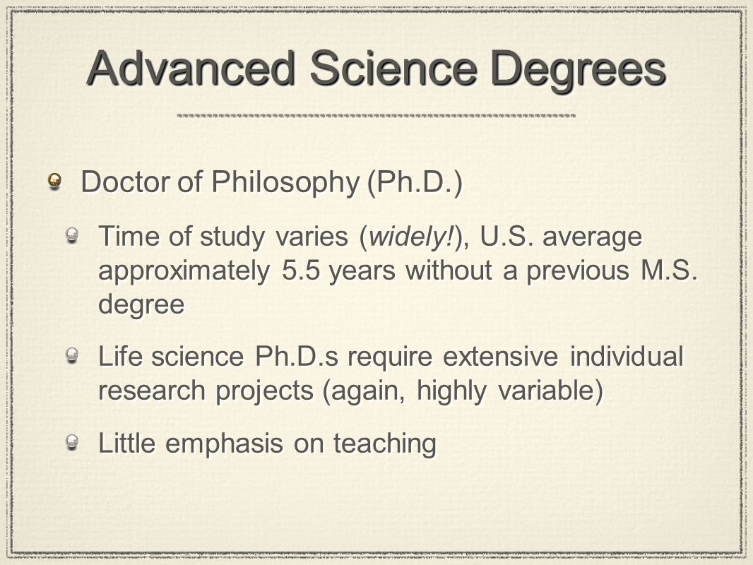 Advanced Science Degrees Doctor of Philosophy (Ph.D.) Time of study varies (widely!), U.S.